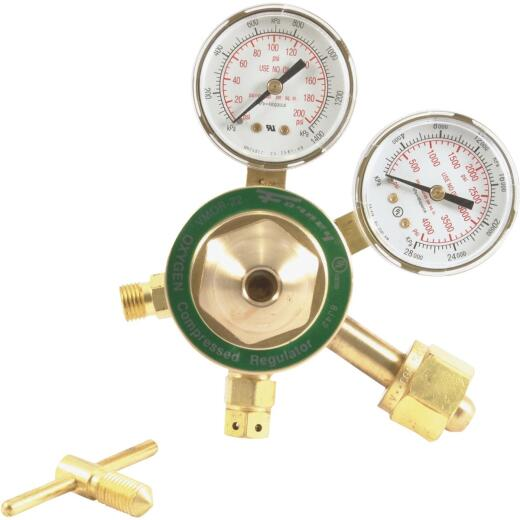 Forney Medium Duty Victor Compatible Forged Brass Body and Bonnets Oxygen Regulator