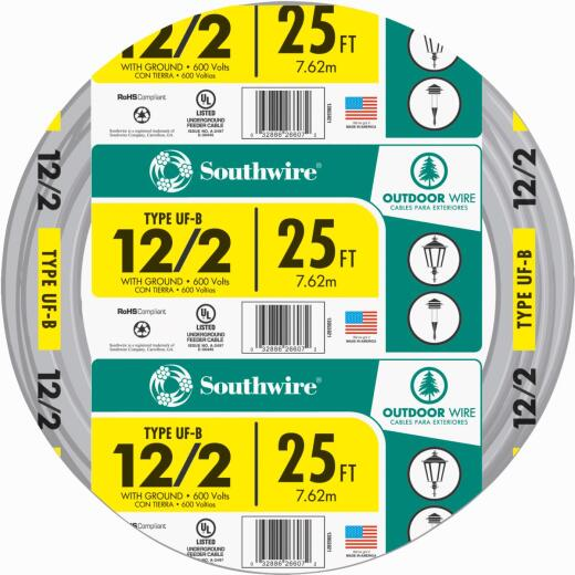 Southwire 25 Ft. 12 AWG 2-Conductor UFW/G Wire