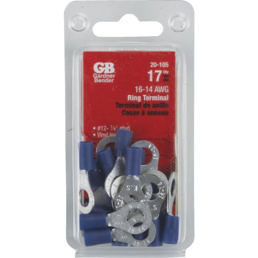 Gardner Bender 16 to 14 AWG #12 to 1/4 In. Stud Size Blue Vinyl-Insulated Barrel Ring Terminal (17-Pack)