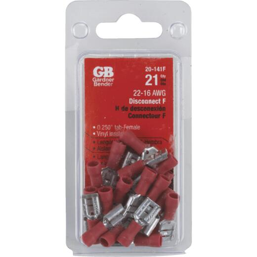 Gardner Bender 22 to 16 AWG Female Red Vinyl-Insulated Barrel Disconnect (21-Pack)