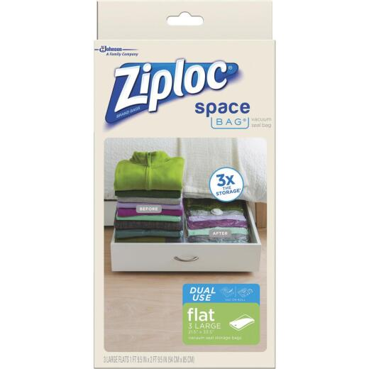 Ziploc Vacuum Seal Flat Storage Space Saving Bag, 3-Pack