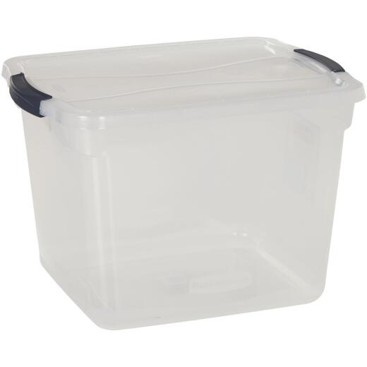 Rubbermaid 30 Qt. Clear Clever Store Latching Lid Storage Tote