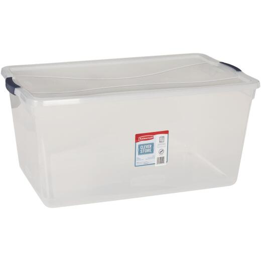 Rubbermaid 95 Qt. Clear Clever Store Latching Lid Storage Tote