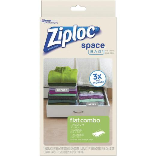 Ziploc Vacuum Seal Flat Combo Space Bag, 3-Pack