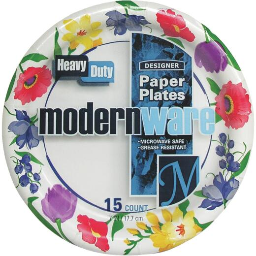 AJM 7 In. Modern Ware Paper Plate (15 Count)