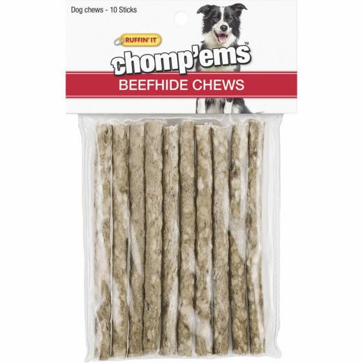 Westminster Pet Ruffin' it Chomp'ems Beefhide Stick, 10-Pack